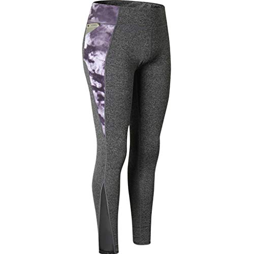 JOFOW Womens Leggings Solid Patchwork Gradient Dye Print Joggers Skinny Stretch Elastic Casual Workout Gym Sport Yoga Pants -