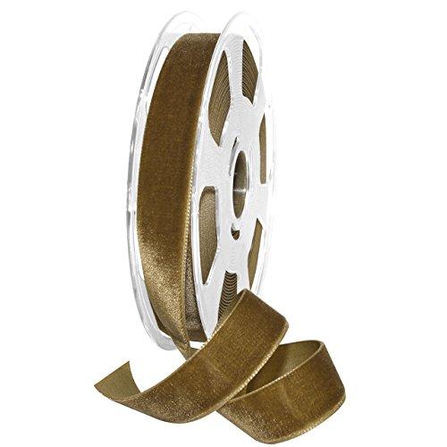 Gold Velvet Ribbon - Morex Ribbon 01225/10-533 Nylvalour Velvet Ribbon, Antique Gold, 7/8