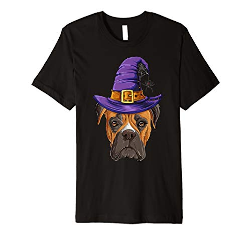 Cute Boxer Witch T-shirt, Funny Halloween Costume Dogs Hat -