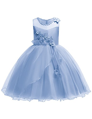 JOYMOM Dresses for Girls, Toddler Girl Flower Embroidery Ruffles Pageant Birthday Party Dress Kids Wedding Tulle Ball Gown Aqua Blue Size (130) 5-6 -