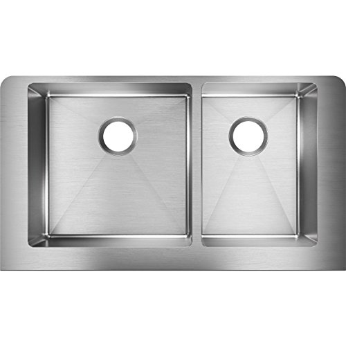 Elkay Crosstown ECTRUF32179R 60/40 Double Bowl Farmhouse Stainless Steel Kitchen Sink (Double Bowl Apron)