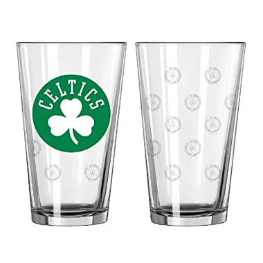 NBA Boston Celtics Satin Etch Pint, 16-ounce, 2-Pack