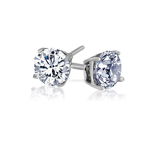 925 Solid Sterling Silver Basket Set Round Cz Stud Earrings in Different Sizes (sterling-silver, 2 carats)