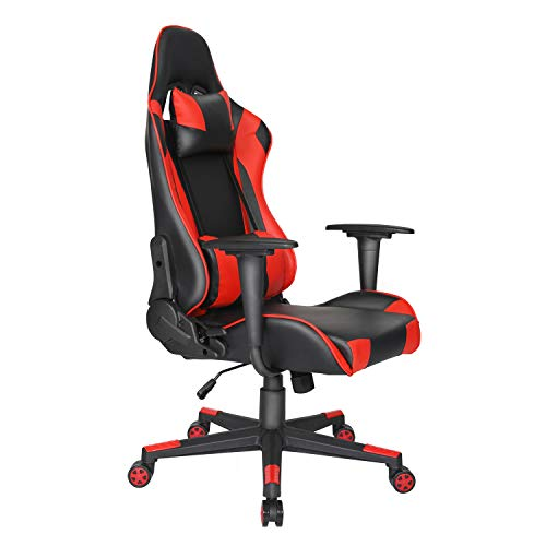 Ergonomic Reclining Gaming Chair PU Leather Executive Office Chair PC Racing Chair Swivel Computer Desk Chair with Headrest and Lumbar Support Red