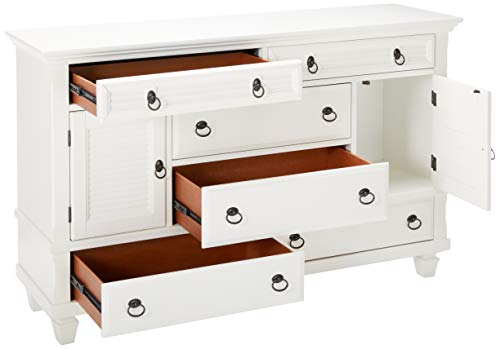 Bedroom Alpine Furniture Winchester Farmhouse Dresser, 62″ W x 18″ D x 34″ H, White farmhouse dressers