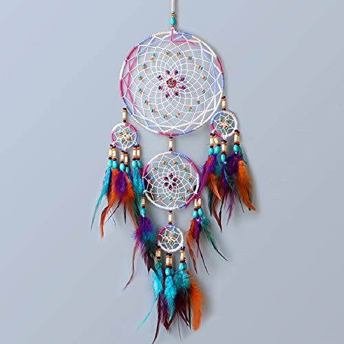 Dream Catcher ~ Handmade Traditional Feather Wall Hanging Home Decoration Decor Ornament Craft (Colorful)