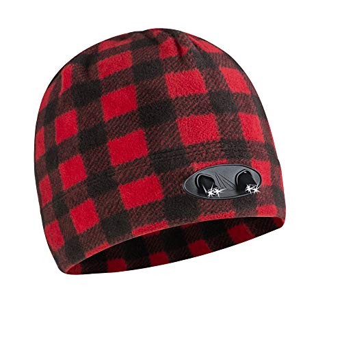 (Panther Vision POWERCAP LED Beanie Cap 35/55 Ultra-Bright Hands Free LED Lighted Battery Powered Headlamp Hat - Plaid Red & Black (CUBWB-5505))