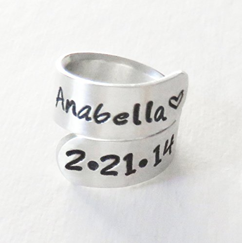 Amazon personalized baby name birth date ring gift for new personalized baby name birth date ring gift for new mommy daddy mothers day fathers day negle Gallery