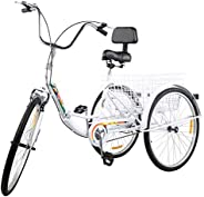 Nie Tricycle Adult 26'' Wheels Adult Tricycle 1-Speed 3 Wheel Bikes for Adults Three Wheel Bike for Adults Adu