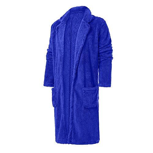 Toimothcn Men Loose Warm Plush Lapel Cardigan Double-Sided Furry Long Coat Slim Fit(Navy,XXL)