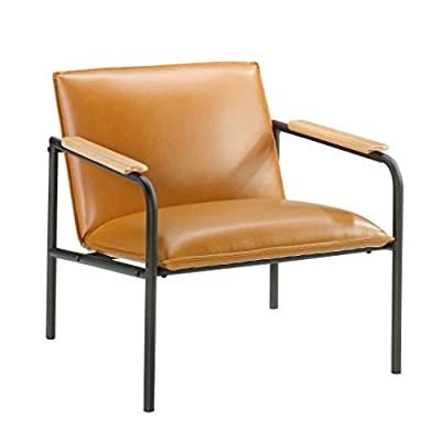 Sauder Boulevard Café Lounge Chair, Camel finish - Durable, powder coated black metal frame Leather-like seat and back for added comfort Arms accented with wood caps for an extra touch of style - sofas-couches, living-room-furniture, living-room - 41akHwvj8xL. SS400  -