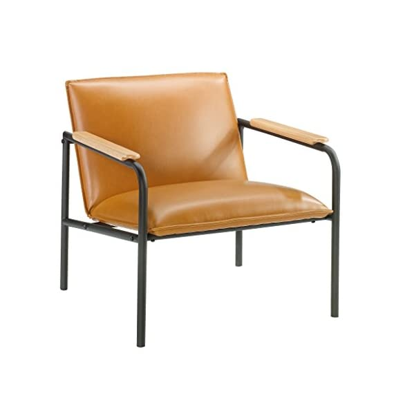 Sauder Boulevard Café Lounge Chair, Camel finish - Durable, powder coated black metal frame Leather-like seat and back for added comfort Arms accented with wood caps for an extra touch of style - sofas-couches, living-room-furniture, living-room - 41akHwvj8xL. SS570  -