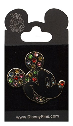 Disney Pins - Multi Colored Jeweled Mickey Mouse Head Pin 59884