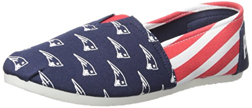 NFL New England Patriots Women's Canvas Stripe Shoes, Large (9), Blue from Forever Collectibles