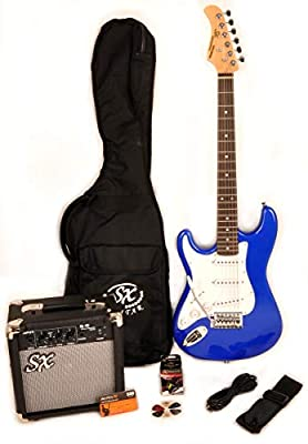 SX RST 3/4 EB LH Left Handed Short Scale Electric Blue Guitar Package with Pocket Amp, Carry Bag & Instructional Video