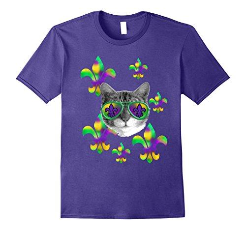 Mens Mardi Gras Cat Sunglasses Tie Dye Fleur De Lis Tee XL - Sunglasses Fleur