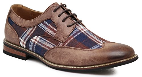 Titan03 Men's Spectator Tweed Plaid Two Tone Wingtips Oxfords Perforated Lace Up Dress Shoes (13 D(M) US, ()