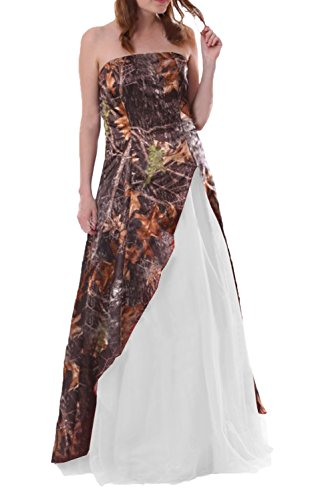 DINGZAN Woman's Strapless Camo and Tulle Wedding Guest Bridesmaid Dress Long 16W White]()