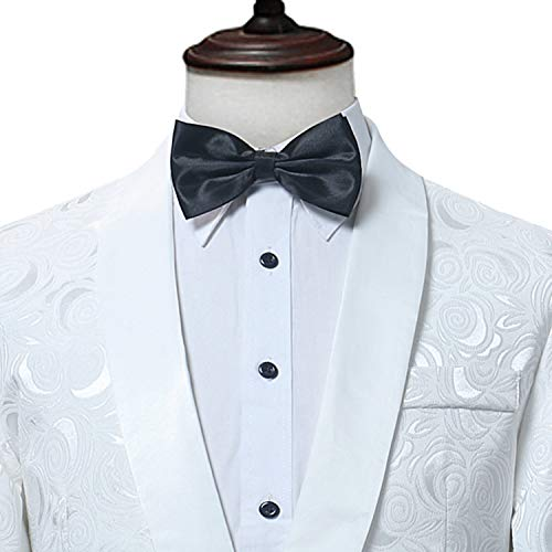 White Rose Blazer Men BrandSingle Button Shawl Collar Mens ...