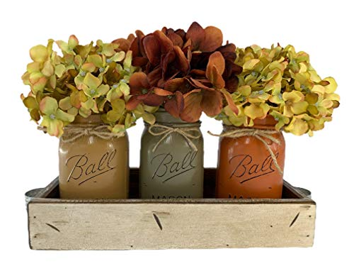 FALL Mason Canning JARS in Wood Antique White Tray Centerpiece with 3 Ball Pint Jar – Kitchen Table Decor – Distressed…