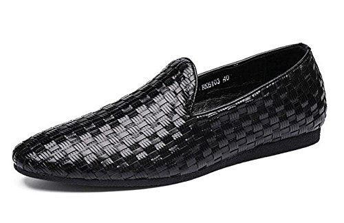 Männer Slip-On Oxford New Business Casual Schuhe Pure Hand - Woven Herren Schuhe Sommer Breathable Schuhe Flat Sets Of Feet , black , 39