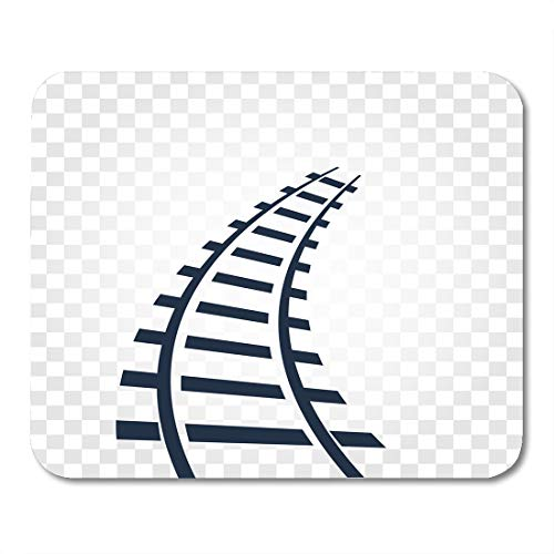 Speed Ladder Collection - Emvency Mouse Pads Railroad White Track Rails Railway Top View Ladder Illustrations on Checkered Gradient Train Route Mouse Pad 9.5
