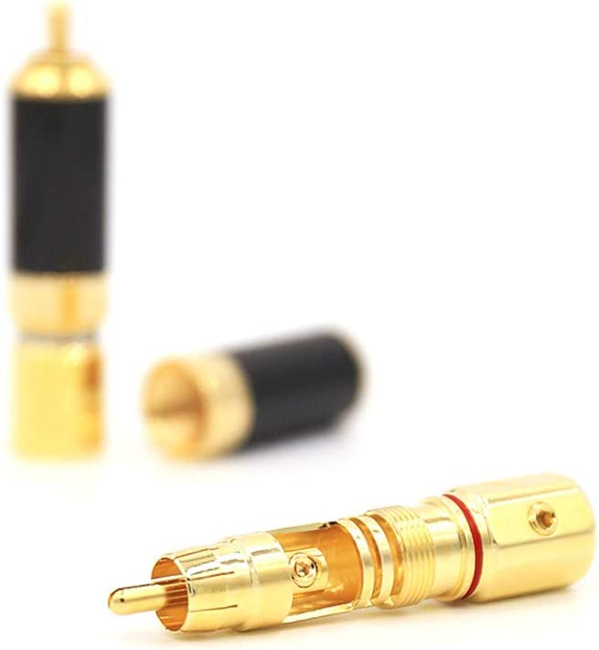 Gold Plated RCA Connector Audiophile RCA Plug AV Screw Locking Audio Video RCA Termination 4PCS