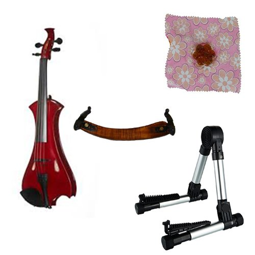 Meisel Electric Violin Pack Red w/Silver Stand, Tuner & Daisy Rosin