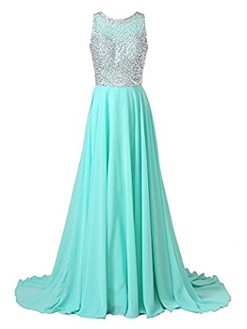 Callmelady Chiffon Long Prom Dresses 2017 with High Neck & Beaded Mesh Bodice (Mint Green, US30W) - 439 Sheer