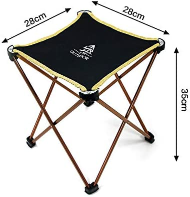 Rayami Portable Lightweight Folding Camping Stool Chair Aluminum Alloy Fold Up Dining Chair Stool Waterproof Oxford Collapsible Chair Stool(L11.1 x W11.1 x H13.8,can load 200 pounds )
