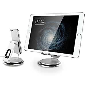 Tablet Stand Adjustable-Anypro 360°Rotating Tablet Phone Holder with Swivel Base and Cable Organizer, Dock for Nintendo Switch/iPad/iPad Pro/mini/iPhone X/8/8 Plus/7/7 Plus/6s/6s Plus, 4-13in, Silver