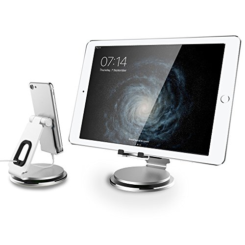 Adjustable Tablet Stand- Anypro 360°Tablet Swivel Stand Tablet Holder Stand for iPad, with Swivel Base and Cable Organizer, Tablet Stands and Holders for Sony PSP/iPad/iPad Pro/iPhone, 4-13in, Silver (Stand Mini Swivel Ipad)