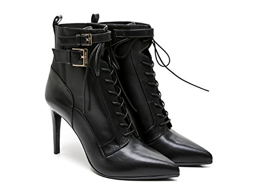 sergio-rossi-womens-black-leather-fabric-ankle-boots-booties-shoes-size-39-eu