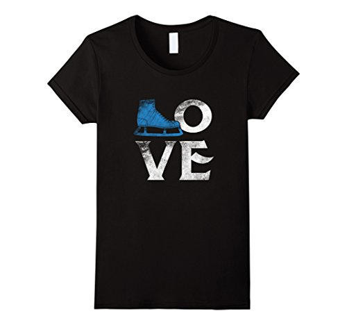 Womens Love Figure Ice Skating Sport T Shirt Skate Lover Rink Tee Medium Black (Ice Skater T-shirt)