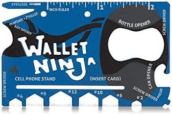 Edición limitada (acabado suave al tacto en azul mate) billetera Ninja 18 en 1 multiusos tarjeta de crédito tamaño bolsillo multiherramienta