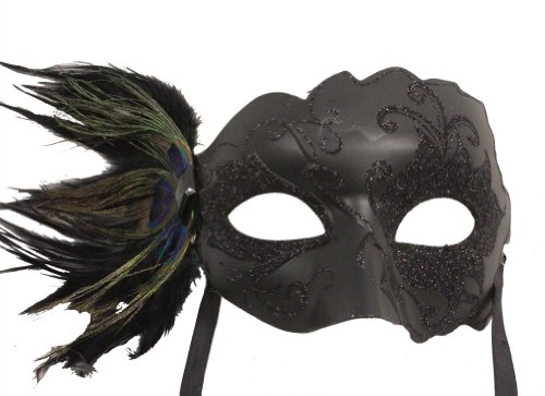 RedSkyTrader Womens Glitter Swan Peacock Mask One Size Fits Most Black