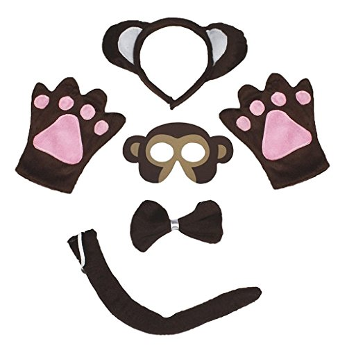 Petitebella Animal Headband Bowtie Tail Gloves Mask 5pc Children Costume -
