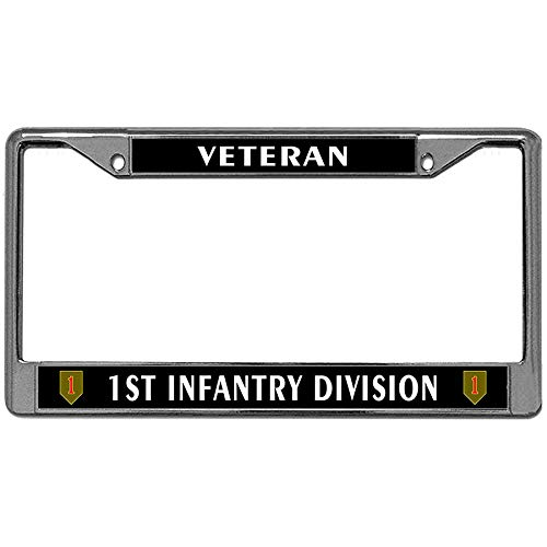 Veteran 1st Infantry Division License Plate Frame Holder, US Army Stainless Steel Car Tag ()