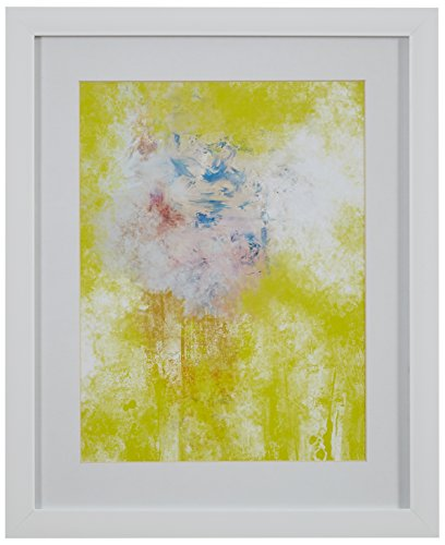 "41akKQVrSNL Modern Yellow Abstract Print, White Frame, 13"" x 15"""