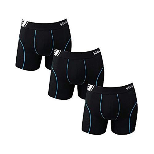 Feelvery Men's Superior Fit Microfiber Active Performance Boxer Briefs Underwear (5 Pack) - Unlimited Comfort Series (C_Line Air Ventilation Midway (BK3P), Large)