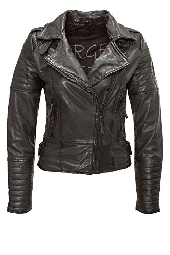 Freaky Nation Damen Lederjacke Sporty FN20866 (S, Dark Brown 8915)