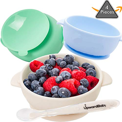 4 Piece Silicone Baby Bowls Set with Guaranteed Suction and Spoon | UpwardBaby | for Babies Kids Toddlers | BPA Free | See Video Demonstration