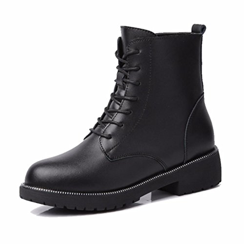 Moonwalker Women's Genuine Leather Lace Up Military Ankle Boot Black 0GxV2FqjzU