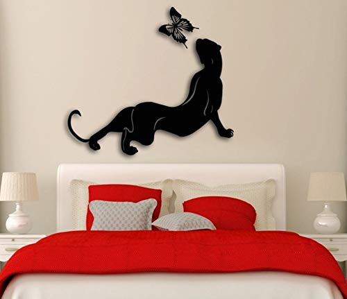 Pbldb Wall Sticker Animals Cougar and Butterfly for Bedroom 66X55Cm ()