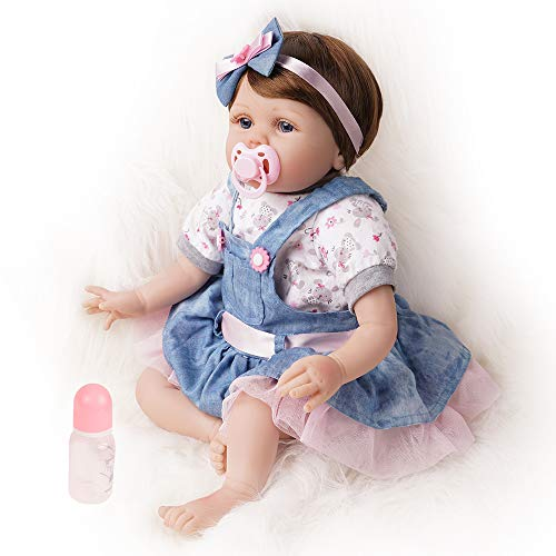Reborn Baby Doll Girl Vinyl Realistic Newborn Blue Eyes 22 Inch Denim Dress with White Short Sleeve