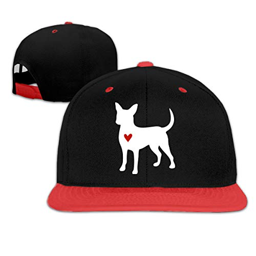 Chihuahua Clipart Silhouette Men Women Flat Brim Baseball Cap Snapback Cap Hat Red