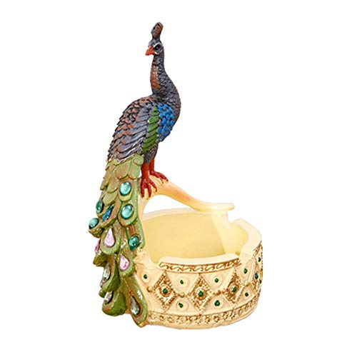 LSX Peacock Ashtray Retro Style Creative Peacock Ashtray Smoker Home Office Decoration Resin Craft Gift Holiday Decoration Ornaments (Material - Natural Resin) ()