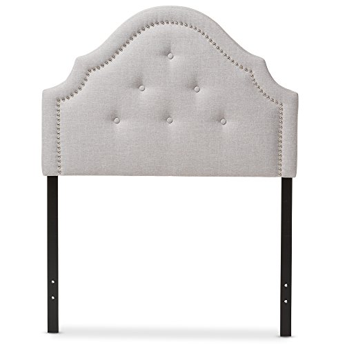 Baxton Studio Cosette Modern and Contemporary Greyish Beige Fabric Upholstered Headboard, Twin (Headboard Tufted Pink Twin)