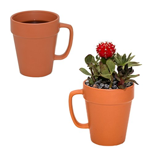 - Culver 14-ounce Flower Pot Ceramic Mug, Set of 2 (Terra Cotta Color)