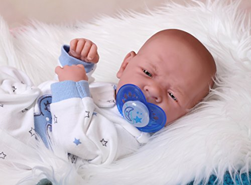 (Cute and Beautiful Baby BOY Sooo Sweet Preemie 14 Inches Life Like Reborn Pacifier Doll + Extras)